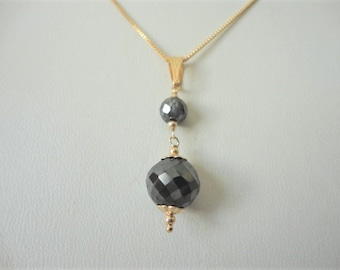 8 Ct Black Diamond Pendant 14k gold filled with chain / diamond necklace /  diamond bead necklace / diamond necklace gold / diamond jewelry