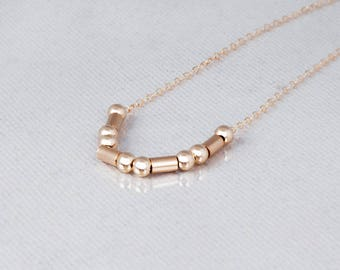 Dainty Gold Filled Necklace, Layered Necklace, Delicate Bead Necklace, Tube Beads Necklace, Minimalist Necklace, Sterling Silver, Rose Gold