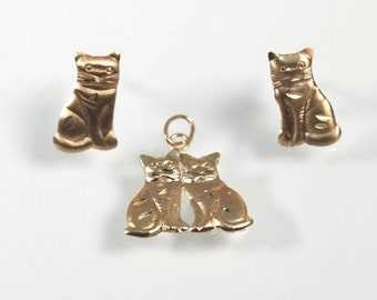 Siamese Cat  Post Earrings 14K Yellow Gold with Necklace Pendant