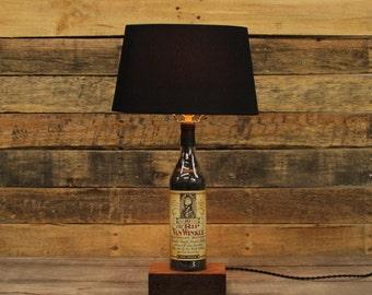 Old Rip Van Winkle Bourbon Bottle Table Lamp, Bourbon Barrel Char, Reclaimed Wood Base, Table Lamp, Whiskey Bottle, pappy van winkle