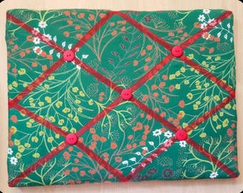 Memo board,green flowery cork memo/pin board,with ribbon and buttons,wall hanging,organiser. 40cm x 30cm approx