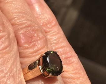 10k Moldavite solitaire ring