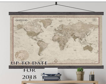 World Push Pin Travel Map. 40x60 or 44x72 Canvas Hanging Map. Push Pin Map. Vintage Look. Map 214 sepia