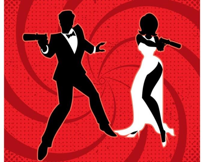 Spy Couple - Vector Cartoon Illustration.  secret agent, couple, family, 007, man, woman, detective, james bond, silhouette, clip art,
