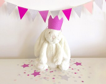 Prince or Princess kit in pink and silver – crown, bunting and confetti
