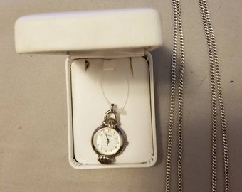 "Vintage Gianello Sterling Silver Deco Pendant Quartz Watch Necklace with Elka 30"" Link Chain"