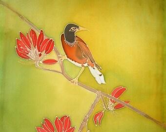 Hand Painted Silk Wall Hanging 16x20 - MYNAH BIRD in Jade Tree, Hawaiian Bird