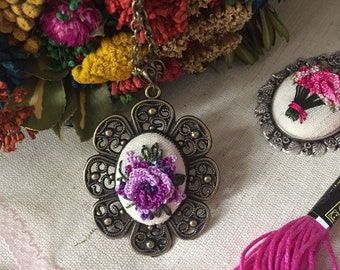 Embroidered Pendant Floral Necklace Handmade Ready to be shipped