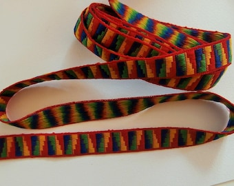 Braid G3 - Woven Ribbon red, blue, green and yellow