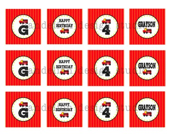 PRINTABLE Party Tags - Fire Truck Party Collection - Dandelion Design Studio