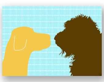 Golden Labrador avec Brown Labradoodle chiens impression Face à face - tirage d'art, deux chiens, décor de chiens, silhouette, amant d'animal familier