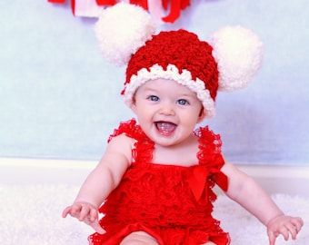 Christmas Baby Hat 6 to 9 Month Baby Santa Hat Baby Girl Hat Baby Boy Hat Pom Pom Hat Christmas Photo Prop Red White Santa Baby Hat Crochet