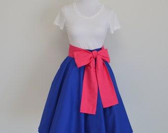 Frozen's Princess Anna Inspired Royal Blue Circle Skirt and Pink Sash