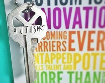 Stamped Key Necklace / Keychain: Autism