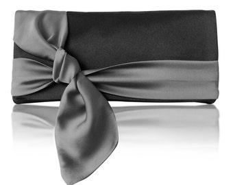 Black and gray satin Piper clutch purse with bow, bridesmaids, mother of the bride