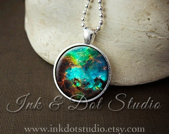 Colorful Galaxy Necklace, Space Pendant, Nebula Necklace, Galaxy Jewelry