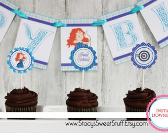 Brave Girl Cupcake Toppers, DIY, Printable, Instant Download