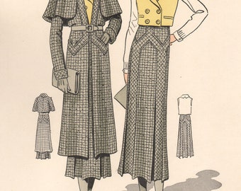 French 1930s Fashion Design Vintage Print