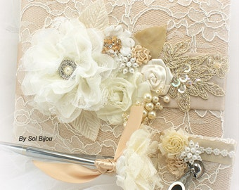 Wedding Guest Book Champagne Gold Ivory,Lace Guest Book,Silver Wedding Pen,Beaded Guest Book,Custom Order