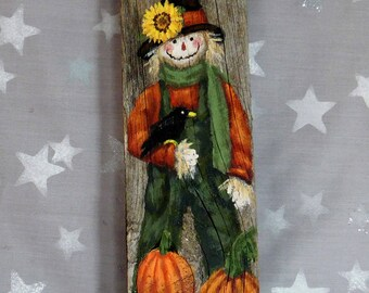 "Pumpkins and Crows, scarecrow, hand painted, authentic barn wood, 3 1/2"" x 12"""