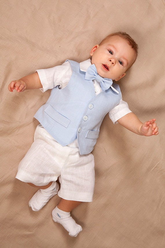 Baby junge Leinen Anzug Ringträger-Outfit junge Taufe Outfit