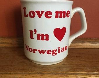 Love me I'm Norwegian coffee mug