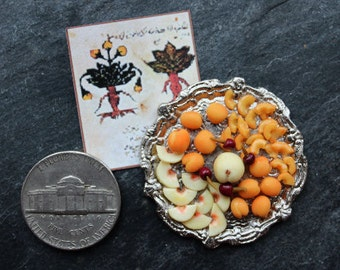 Tudor dolls house miniature fruits platter, peaches apricots. 12th scale Medieval banquet, one inch dollhouse food
