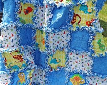Rag Quilt - Dinosaur Crib Quilt - Dinosaur Appliques - Toddler Quilt - Blue Yellow - Baby Quilt