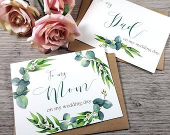 Set of 2, To My MOM Card, To My DAD Card, Mother of the Bride Card, Father of the Bride Card, Mother Card, Father Card, Greenery Wedding