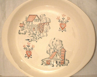 vintage handpainted folk art plate singed made in america with thunderbird