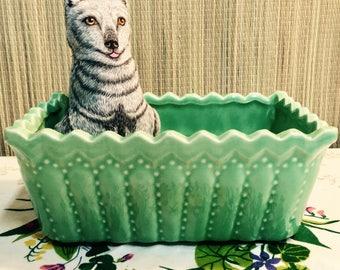 Aquamarine Succulent Planter Pot. Vintage Sea Foam Ceramic Planter.