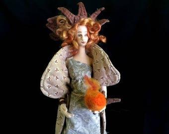 Winter Solstice Art Doll OOAK handmade cloth over wire celtic centerpiece decor unique gift fantasy creation