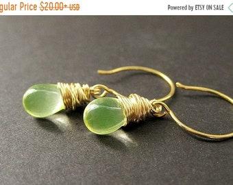 MOTHERS DAY SALE Wire Wrapped Earrings: Teardrop Earrings in Lemon Lime and Gold. Handmade Jewelry.