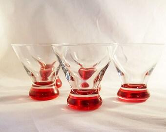 Red Bottom Stemless Martini Glasses