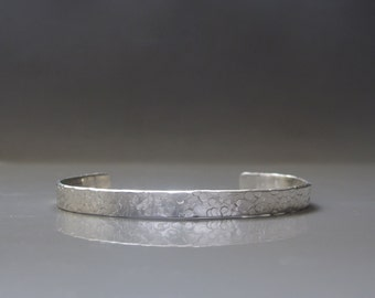 Mens cuff bracelet, Textured silver bracelet, Sterling silver cuff , Mens jewelry
