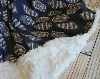 Boys Baby Blanket - Minky Blanket - Baby Blanket - Navy White Blanket - Tribal Baby Blanket -  Feather Crib Blanket - Baby Shower Gift