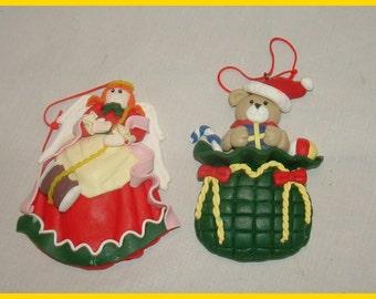 2 Polymer Clay Christmas Ornaments Teddy Bear in Santa Bag Angel Sewing