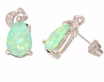 Green Fire Opal Crystal Stud Earrings
