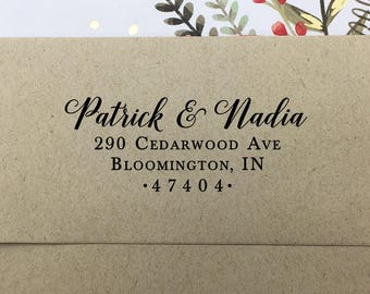 Return Address Stamp, Self Inking Return Address Stamp, Custom Wedding Stamp, Wooden Stamp, Rubber Stamp, Personalized Couples Names Stamp