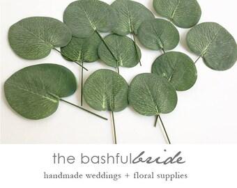 12 Eucalyptus leaves, boutonniere, eucalyptus boutonniere, eucalyptus corsage, eucalyptus bouquet, faux eucalyptus, artificial eucalyptus