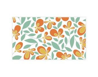 Summer Garden - Little Notes - Set of 10 Enclosure Cards, Envelopes, Gold Closure Stickers - Florals - Garden - Pattern - (LN403)
