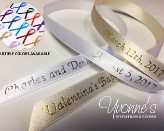 """Personalized Ribbon for Favors / Qty 100 - Party Favor Ribbons -  3/8"""" inch wide / 12"""" inch long - Multiple Colors Available"""