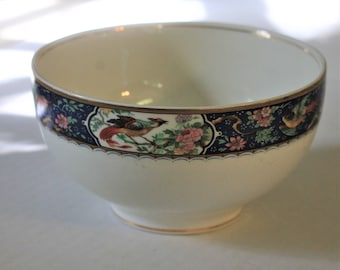 Vintage Antique W H Grindley Braintree Bird of Paradise Royal Blue Cereal Bowl