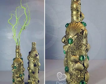 Decorative Bottles with Seashells