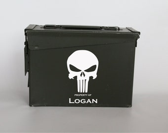 Punisher Gift, Personalized ammo box gift for man, ammo can