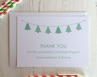 10 x Personalised mini Christmas trees Thank you Cards  - Postcard style - Unfolded - Thank you Notes Christmas Thank you card (LB109)