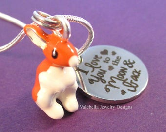 Necklace I love you to the Moon and back saying 3D Easter bunny girls charm pendant necklace kids tween teen rabbit jewelry gift for her