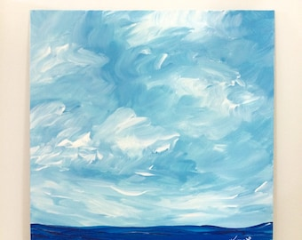 Acrylic seascape painting white clouds blue ocean water 12x12 canvas original art contemporary artwork signed
