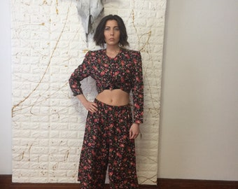 Vintage Unbranded Two Piece Floral Print Crop Top Loose Fit Pants Outfit Set (80's)