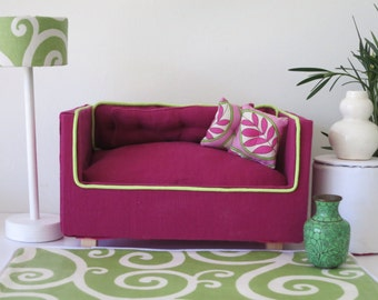 Plum Linen Barbie Sofa